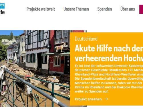 Hilfe für Flutkatastrophe in Deutschland